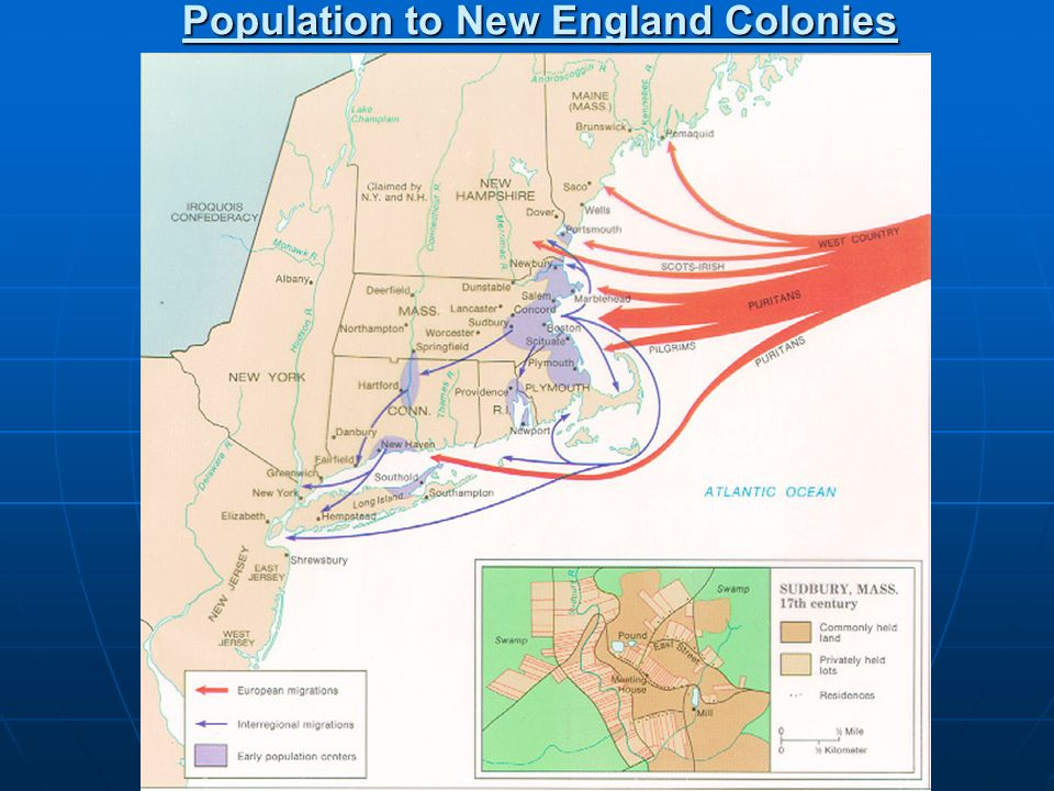 Population to New England Colonies