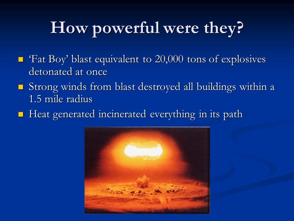 What did the bombs look like? Little Boy Uranium, Hiroshima Fat Man, Plutonium, Nagasaki