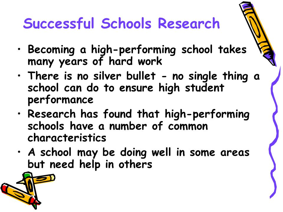Successful Schools Research Becoming a high-performing school takes many years of hard work There is no silver bullet - no single thing a school can d