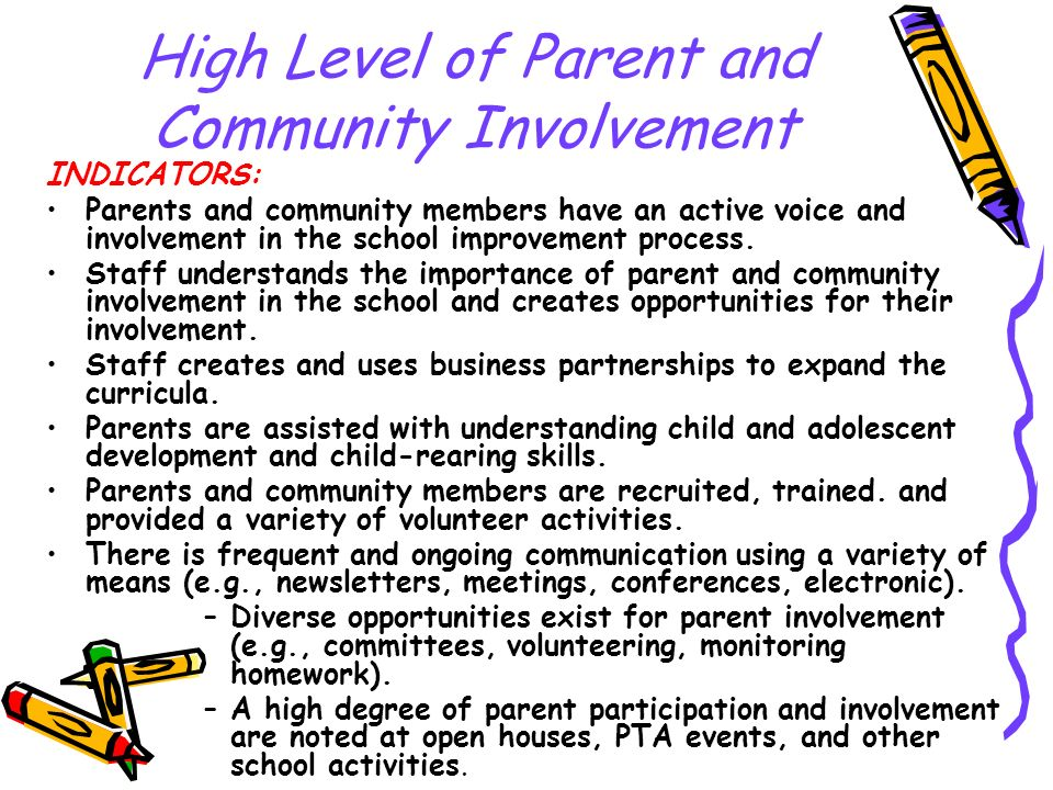 High Level of Parent and Community Involvement INDICATORS: Parents and community members have an active voice and involvement in the school improvemen