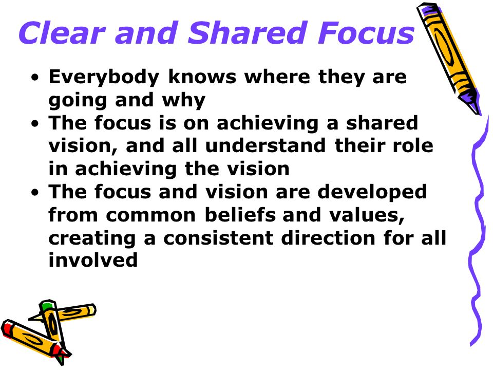 Clear and Shared Focus Everybody knows where they are going and why The focus is on achieving a shared vision, and all understand their role in achiev