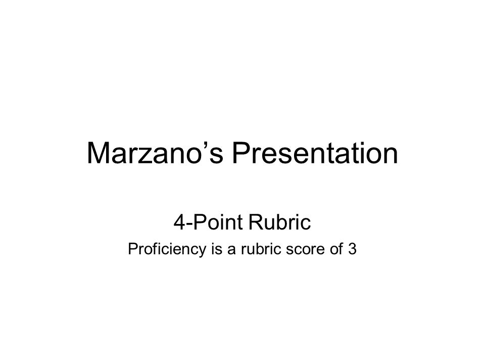 Marzanos Presentation 4-Point Rubric Proficiency is a rubric score of 3