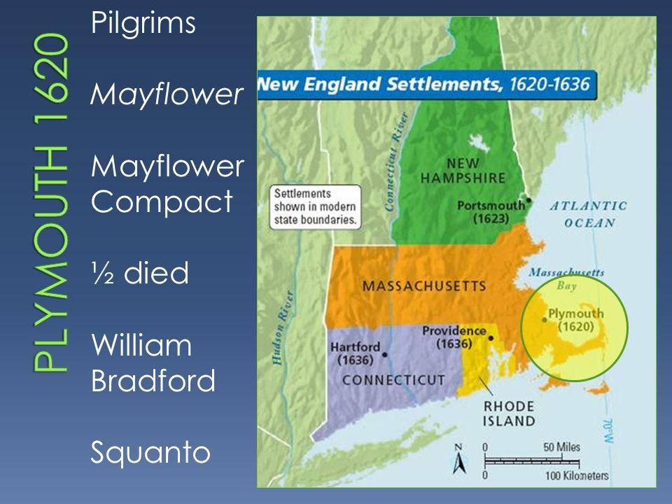 Pilgrims Mayflower Mayflower Compact ½ died William Bradford Squanto