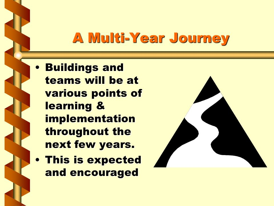 A Multi-Year Journey Buildings and teams will be at various points of learning & implementation throughout the next few years.Buildings and teams will