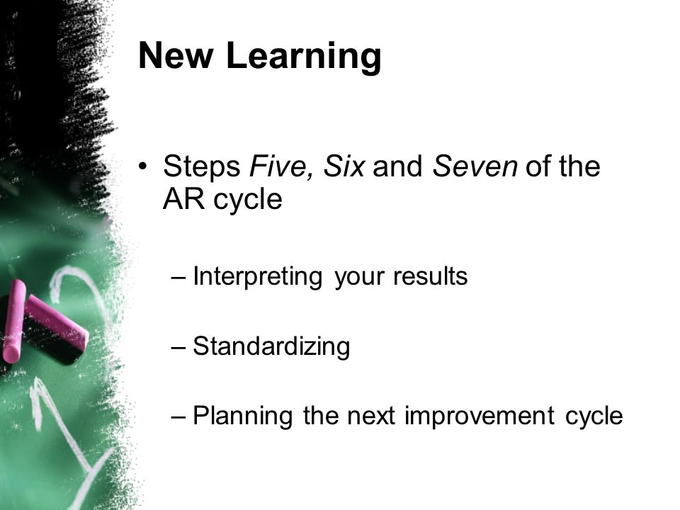New Learning Steps Five, Six and Seven of the AR cycle –Interpreting your results –Standardizing –Planning the next improvement cycle