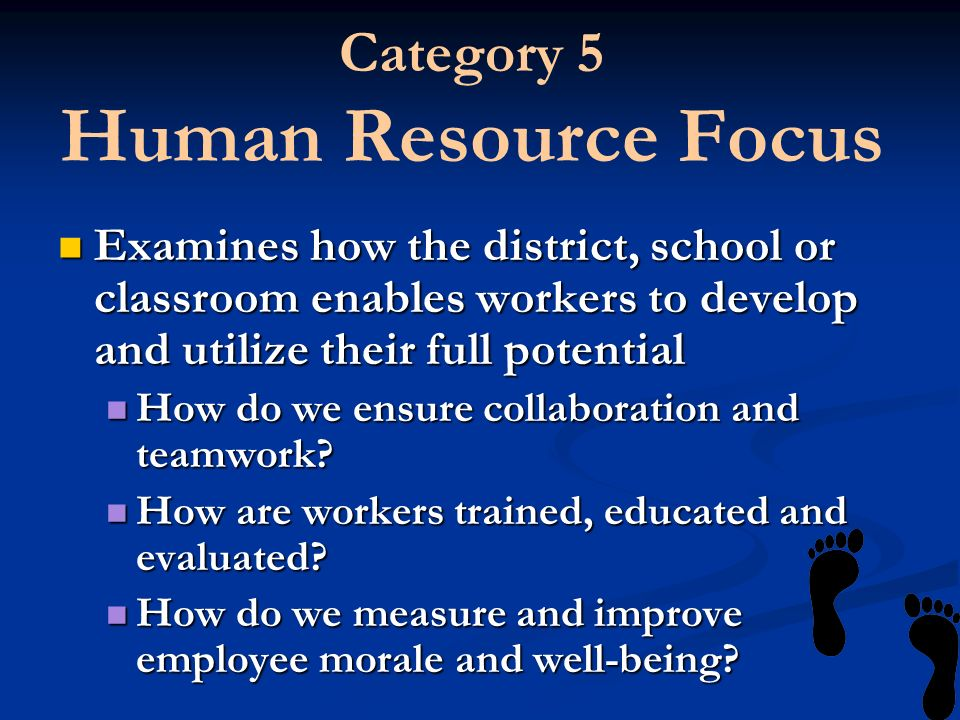 Category 5 Human Resource Focus Examines how the district, school or classroom enables workers to develop and utilize their full potential Examines ho