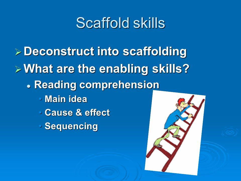Scaffold skills Deconstruct into scaffolding Deconstruct into scaffolding What are the enabling skills? What are the enabling skills? Reading comprehe