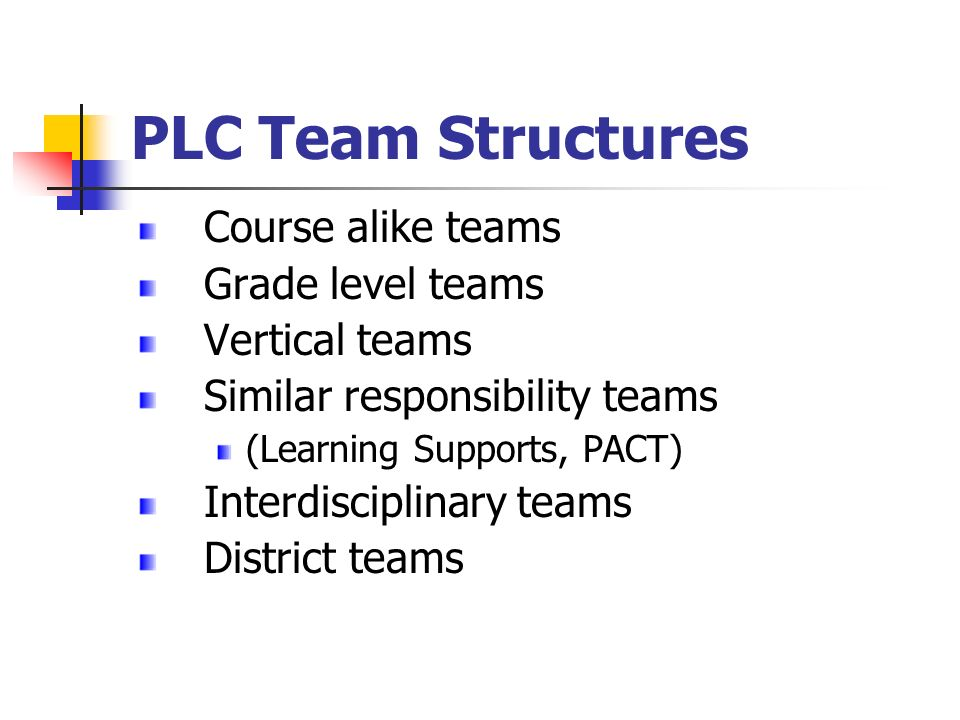 PLC Team Structures Course alike teams Grade level teams Vertical teams Similar responsibility teams (Learning Supports, PACT) Interdisciplinary teams