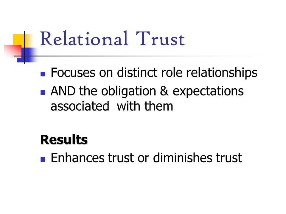 Relational Trust Focuses on distinct role relationships AND the obligation & expectations associated with themResults Enhances trust or diminishes tru