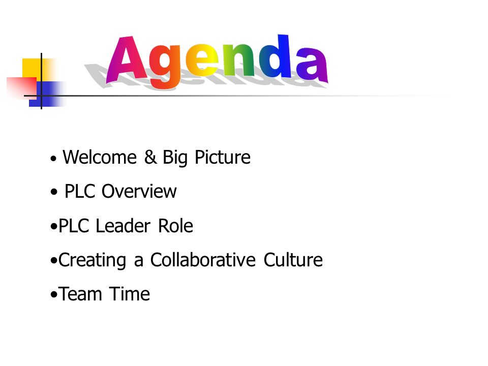 Welcome & Big Picture PLC Overview PLC Leader Role Creating a Collaborative Culture Team Time
