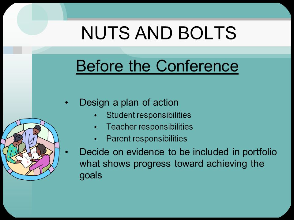 NUTS AND BOLTS Before the Conference Design a plan of action Student responsibilities Teacher responsibilities Parent responsibilities Decide on evide