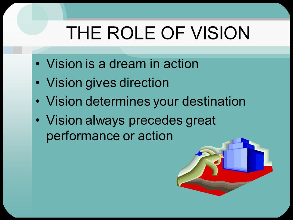 THE ROLE OF VISION Vision is a dream in action Vision gives direction Vision determines your destination Vision always precedes great performance or a