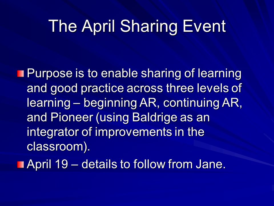 The April Sharing Event Purpose is to enable sharing of learning and good practice across three levels of learning – beginning AR, continuing AR, and Pioneer (using Baldrige as an integrator of improvements in the classroom).