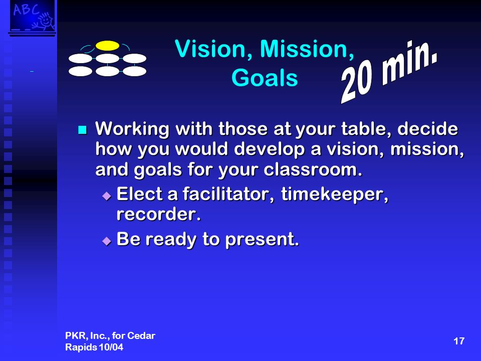 PKR, Inc., for Cedar Rapids 10/04 17 Vision, Mission, Goals Working with those at your table, decide how you would develop a vision, mission, and goals for your classroom.