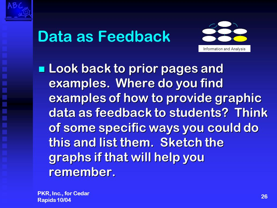 PKR, Inc., for Cedar Rapids 10/04 26 Data as Feedback Look back to prior pages and examples.