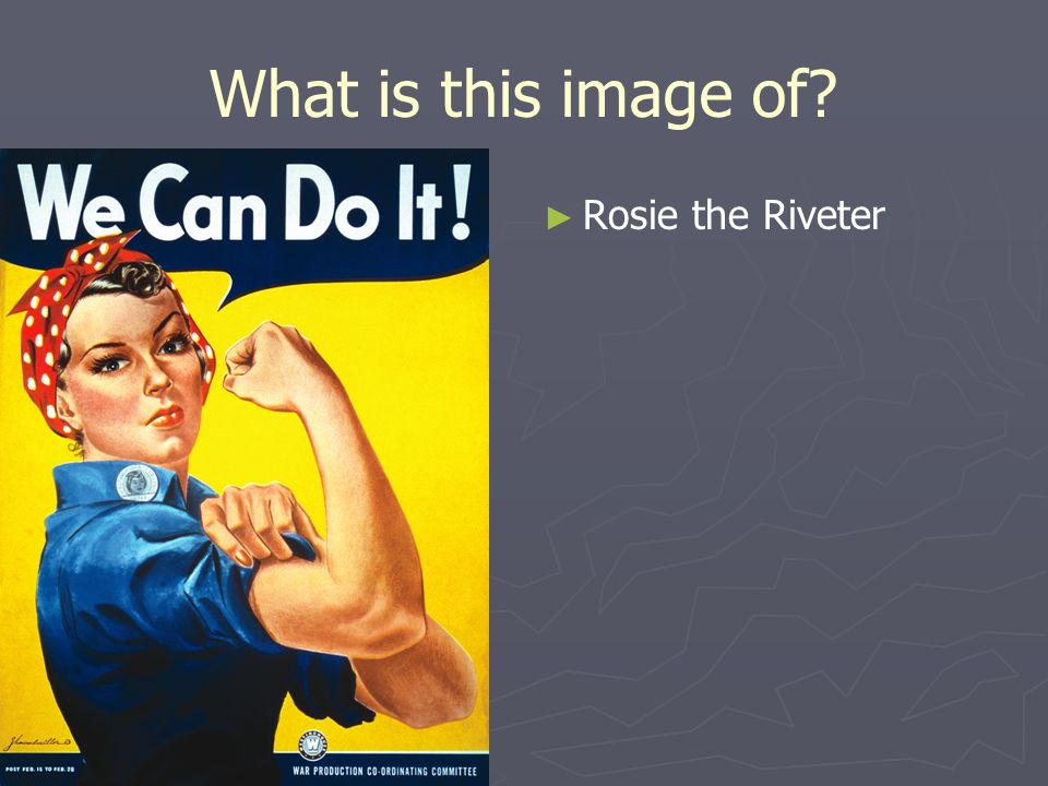 What is this image of? Rosie the Riveter