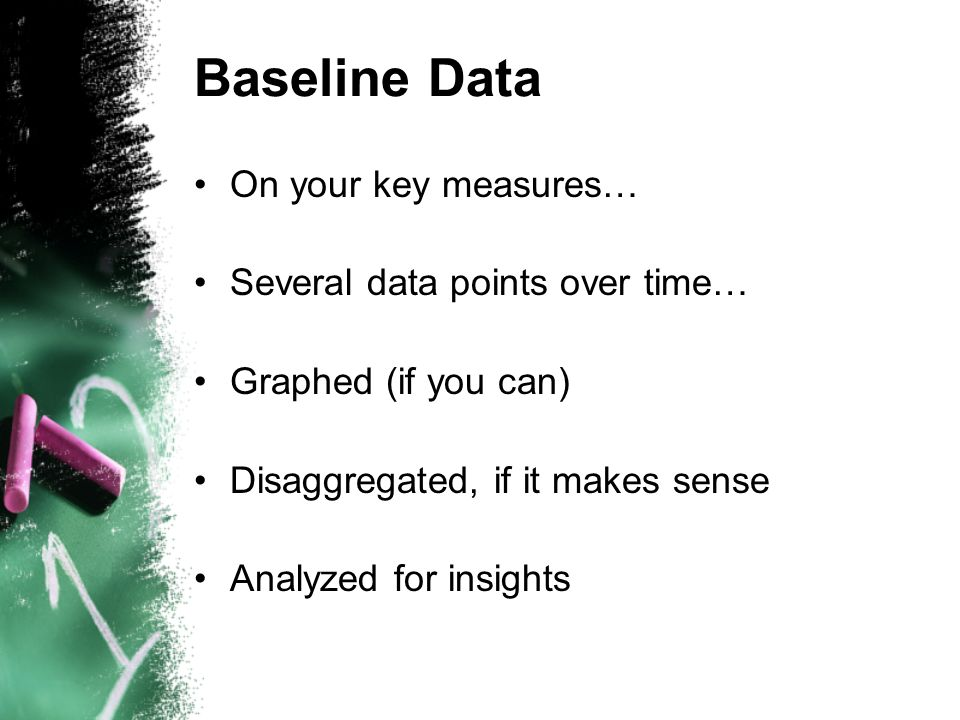 Baseline Data On your key measures… Several data points over time… Graphed (if you can) Disaggregated, if it makes sense Analyzed for insights