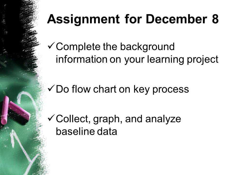 Assignment for December 8 Complete the background information on your learning project Do flow chart on key process Collect, graph, and analyze baseline data