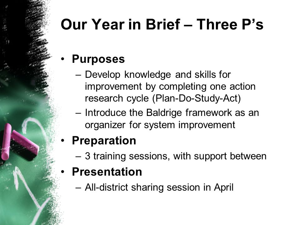 Our Year in Brief – Three Ps Purposes –Develop knowledge and skills for improvement by completing one action research cycle (Plan-Do-Study-Act) –Introduce the Baldrige framework as an organizer for system improvement Preparation –3 training sessions, with support between Presentation –All-district sharing session in April