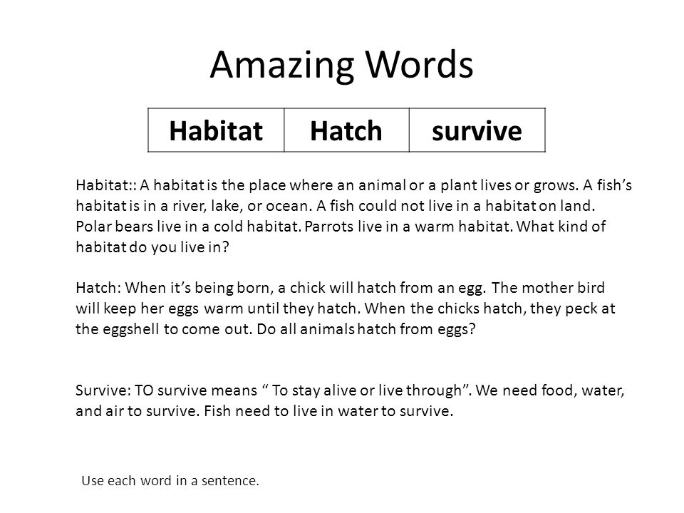 Amazing Words HabitatHatchsurvive Habitat:: A habitat is the place where an animal or a plant lives or grows.