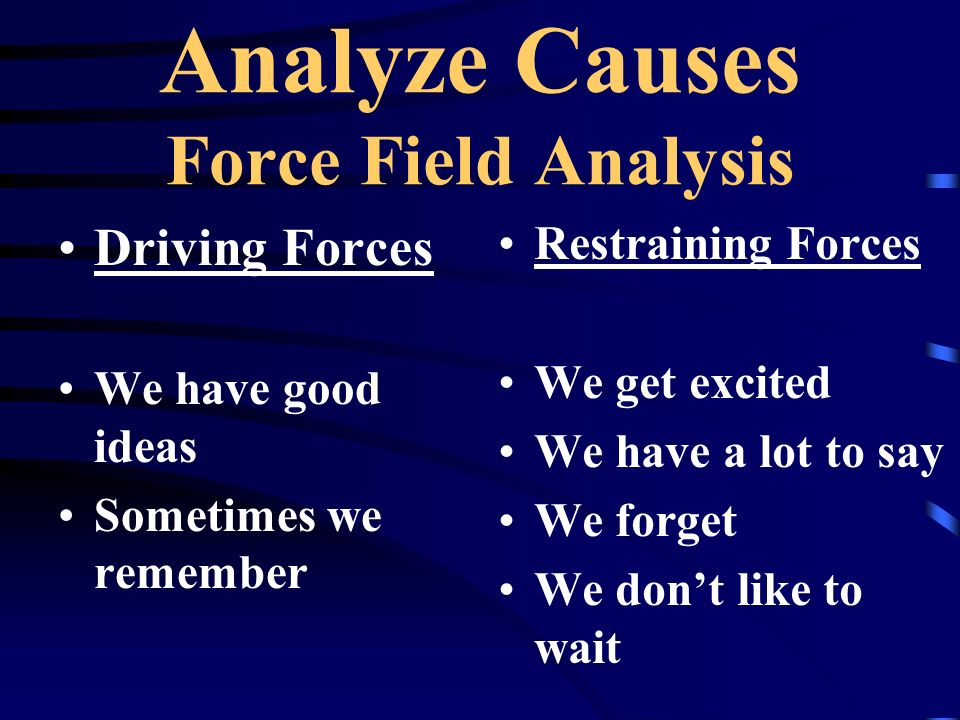 Analyze Causes Force Field Analysis Driving Forces We have good ideas Sometimes we remember Restraining Forces We get excited We have a lot to say We forget We dont like to wait