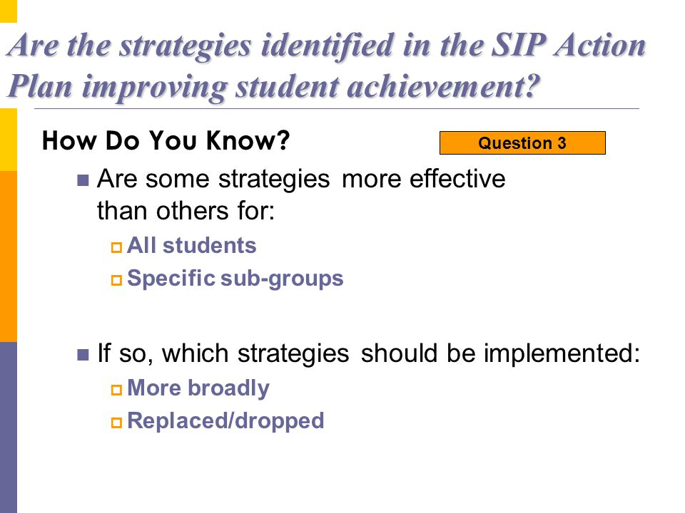 Are the strategies identified in the SIP Action Plan improving student achievement? How Do You Know? Are some strategies more effective than others fo