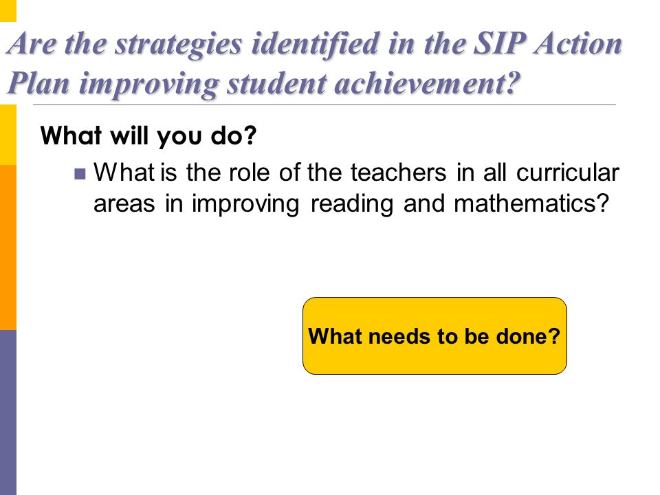 Are the strategies identified in the SIP Action Plan improving student achievement? What will you do? What is the role of the teachers in all curricul