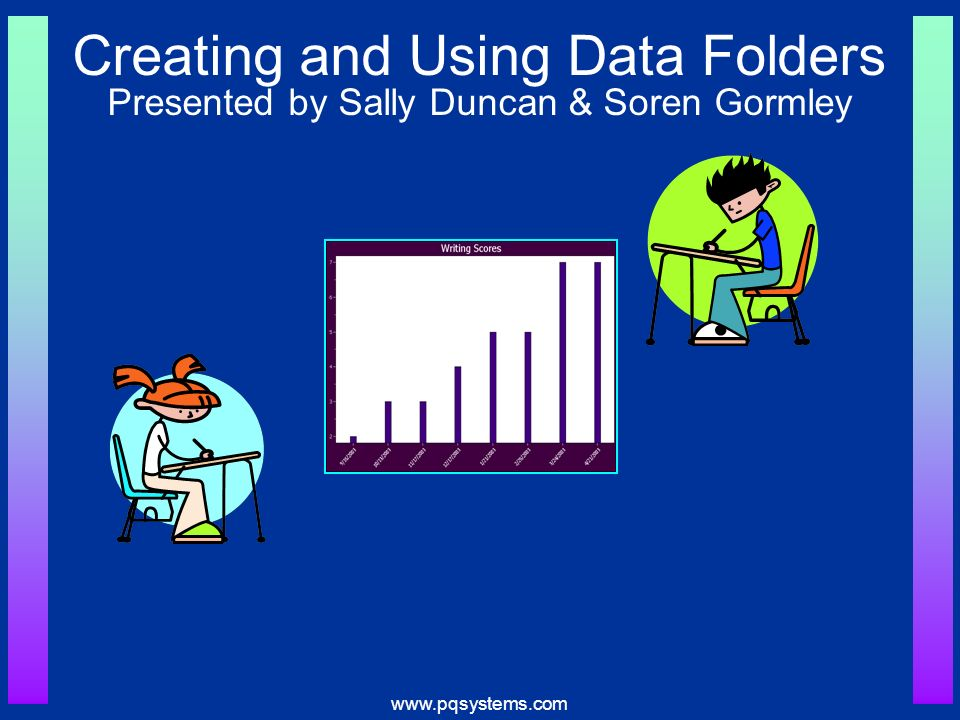www.pqsystems.com Possible Data Folder Components Personal Information Mission Statements & Goals Graphs of assessments aligned to Content Standards Other Behavior Homework
