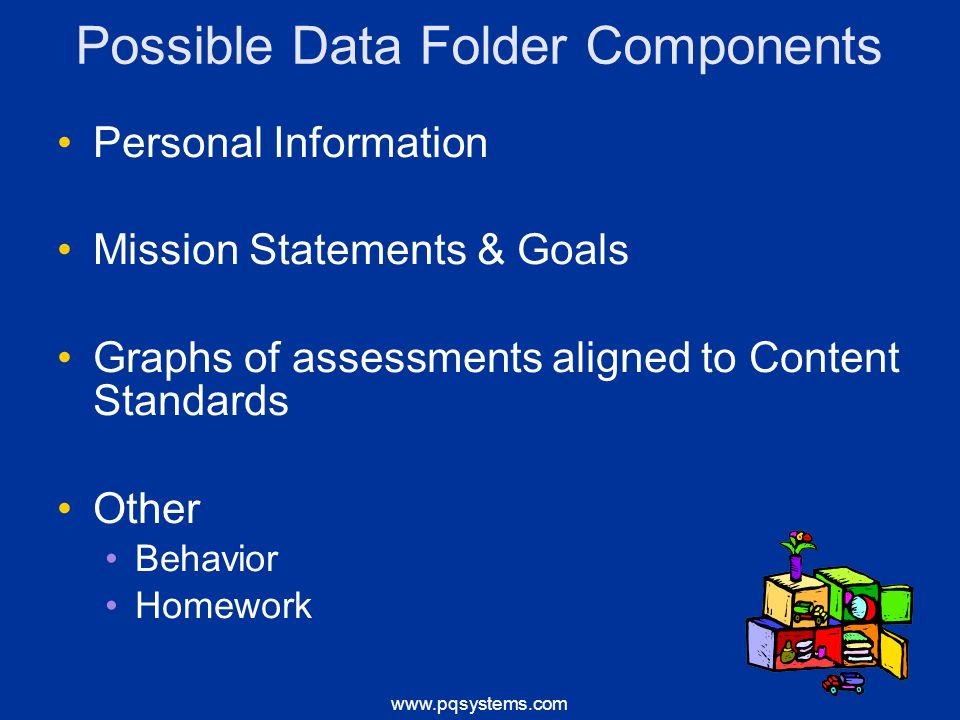 Possible Data Folder Components Personal Information Mission Statements & Goals Graphs of assessments aligned to Content Standards Other Behavior Homework