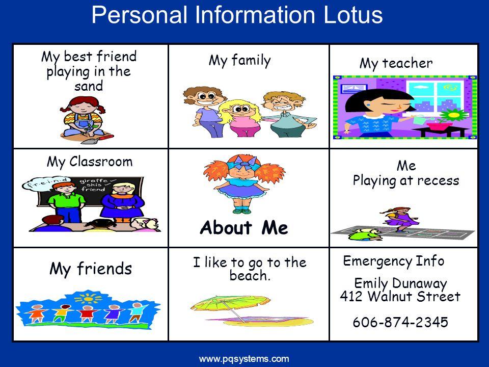 www.pqsystems.com My family My friends Emergency Info I like to go to the beach. My best friend playing in the sand My teacher Emily Dunaway 412 Walnu