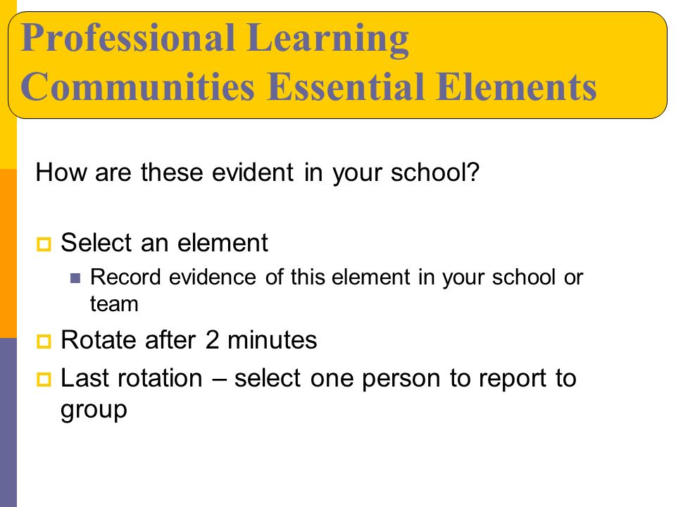 How are these evident in your school? Select an element Record evidence of this element in your school or team Rotate after 2 minutes Last rotation –