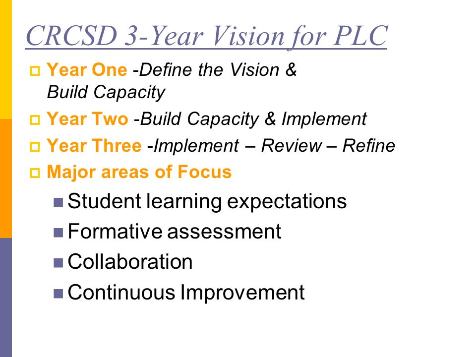 CRCSD 3-Year Vision for PLC Year One -Define the Vision & Build Capacity Year Two -Build Capacity & Implement Year Three -Implement – Review – Refine