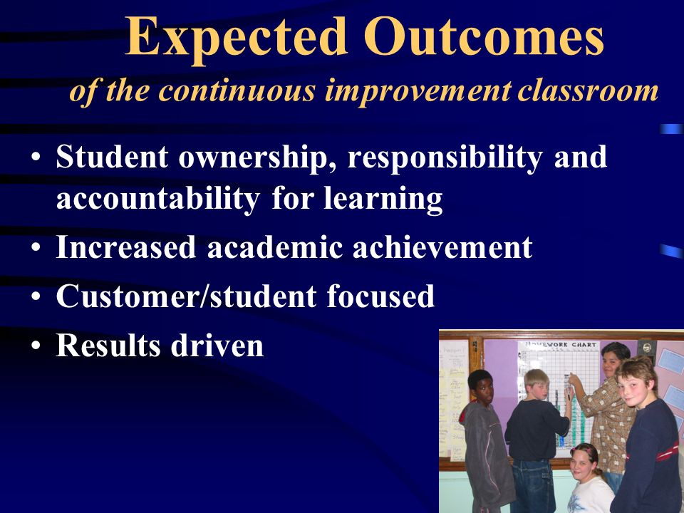Expected Outcomes of the continuous improvement classroom Student ownership, responsibility and accountability for learning Increased academic achieve