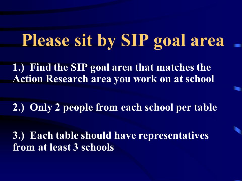 Please sit by SIP goal area 1.) Find the SIP goal area that matches the Action Research area you work on at school 2.) Only 2 people from each school
