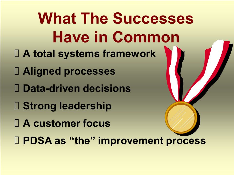 What The Successes Have in Common A total systems framework Aligned processes Data-driven decisions Strong leadership A customer focus PDSA as the improvement process