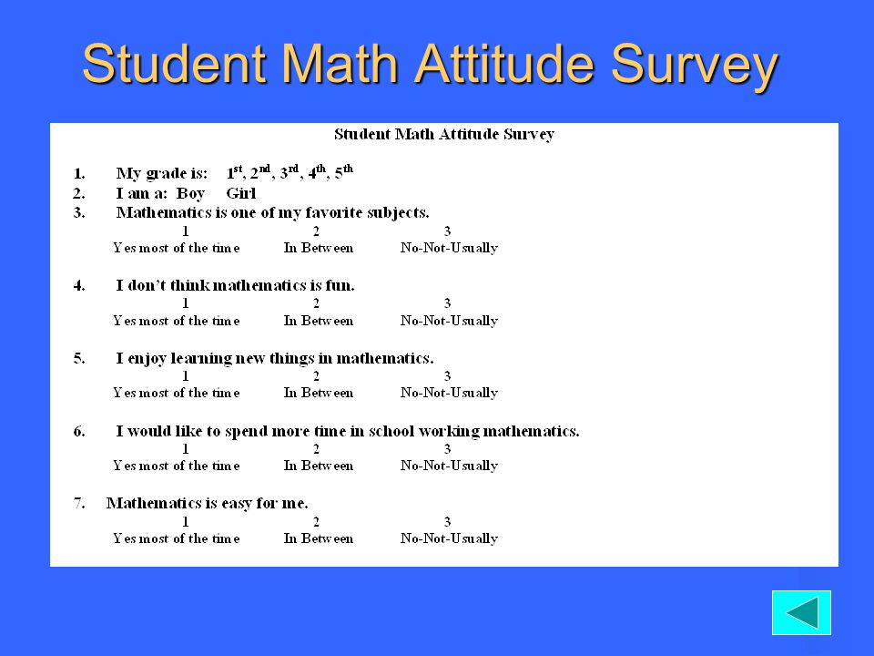 Student Math Attitude Survey