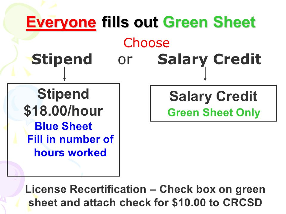Everyone fills out Green Sheet Stipend $18.00/hour Blue Sheet Fill in number of hours worked Salary Credit Green Sheet Only Choose Stipend or Salary C