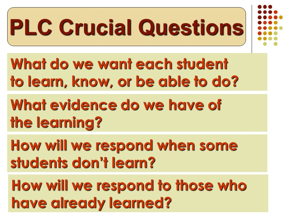 What do we want each student to learn, know, or be able to do? PLC Crucial Questions What evidence do we have of the learning? How will we respond whe