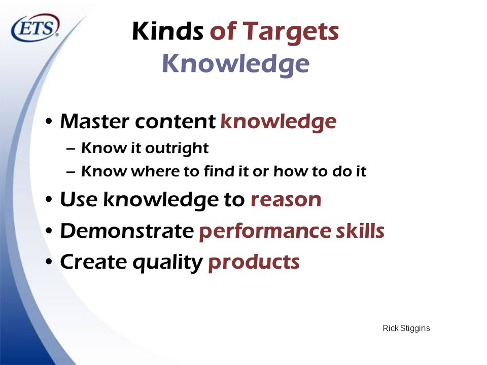Kinds of Targets Knowledge Master content knowledge –Know it outright –Know where to find it or how to do it Use knowledge to reason Demonstrate perfo
