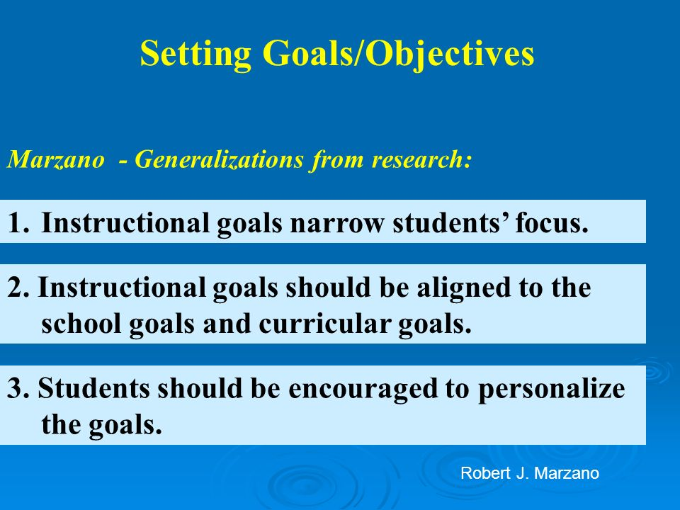 1.Instructional goals narrow students focus. Setting Goals/Objectives Marzano - Generalizations from research: 2. Instructional goals should be aligne
