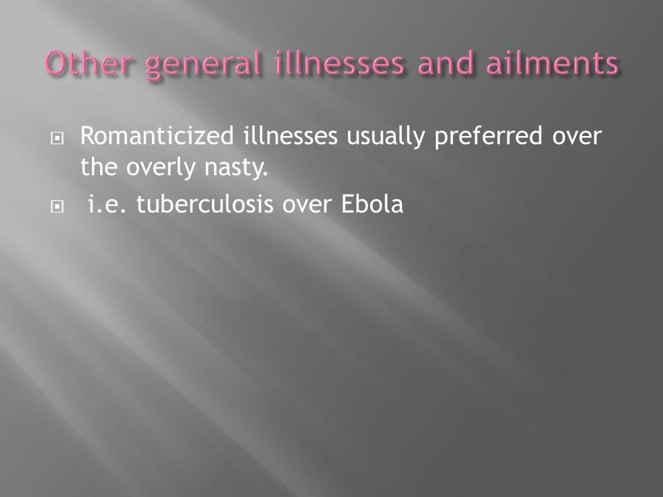Romanticized illnesses usually preferred over the overly nasty. i.e. tuberculosis over Ebola