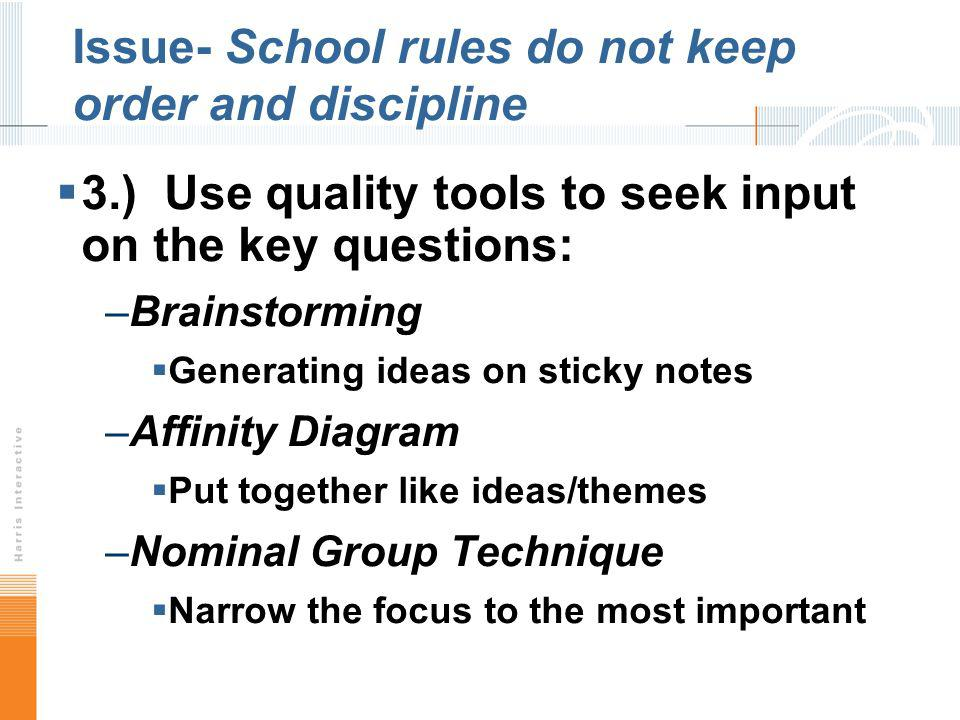 Issue- School rules do not keep order and discipline 3.) Use quality tools to seek input on the key questions: –Brainstorming Generating ideas on stic