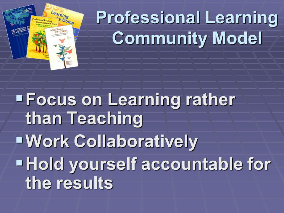 Professional Learning Community Model Focus on Learning rather than Teaching Focus on Learning rather than Teaching Work Collaboratively Work Collabor
