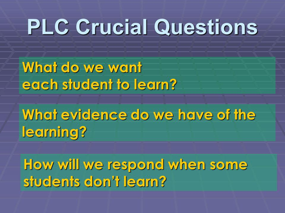 PLC Crucial Questions What do we want each student to learn? What evidence do we have of the learning? How will we respond when some students dont lea