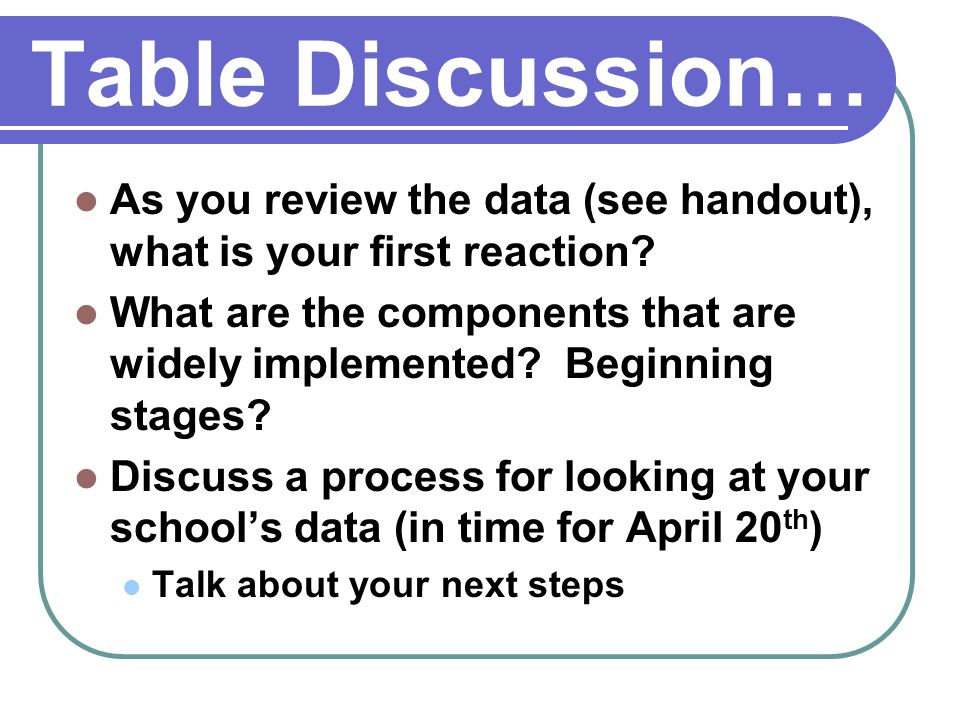 Table Discussion… As you review the data (see handout), what is your first reaction.