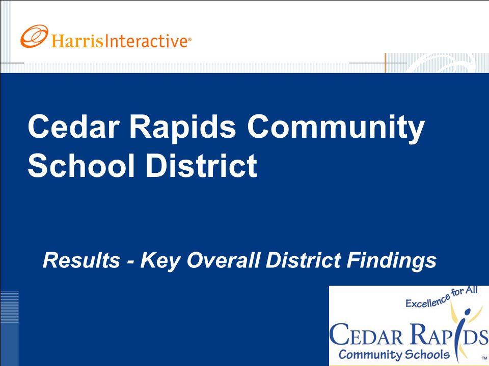 www.harrisinteractive.com ©2005, Harris Interactive Inc. All rights reserved. Cedar Rapids Community School District Results - Key Overall District Fi