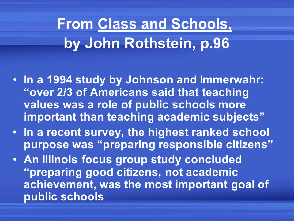 From Class and Schools, by John Rothstein, p.96 In a 1994 study by Johnson and Immerwahr: over 2/3 of Americans said that teaching values was a role o