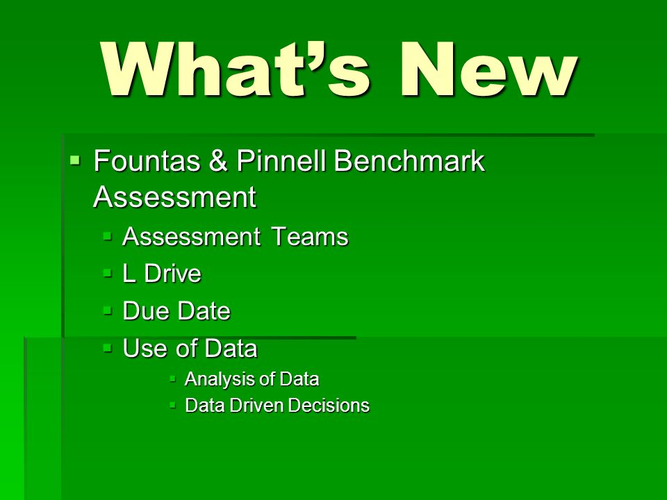 Whats New Fountas & Pinnell Benchmark Assessment Fountas & Pinnell Benchmark Assessment Assessment Teams Assessment Teams L Drive L Drive Due Date Due