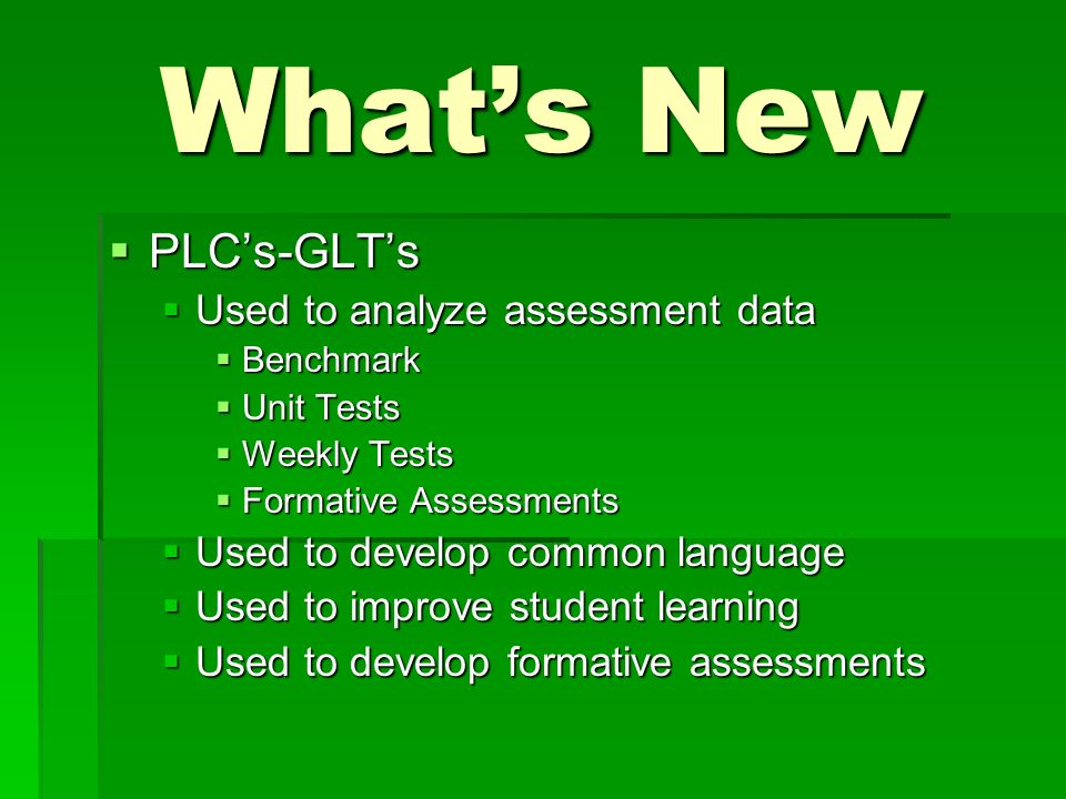 Whats New PLCs-GLTs PLCs-GLTs Used to analyze assessment data Used to analyze assessment data Benchmark Benchmark Unit Tests Unit Tests Weekly Tests Weekly Tests Formative Assessments Formative Assessments Used to develop common language Used to develop common language Used to improve student learning Used to improve student learning Used to develop formative assessments Used to develop formative assessments