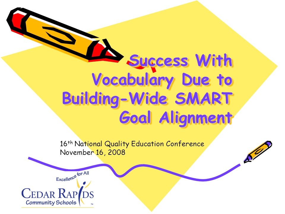 Success With Vocabulary Due to Building-Wide SMART Goal Alignment 16 th National Quality Education Conference November 16, 2008